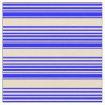 [ Thumbnail: Blue and Tan Colored Stripes Fabric ]