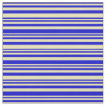 [ Thumbnail: Blue and Tan Colored Stripes/Lines Pattern Fabric ]