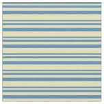 [ Thumbnail: Blue and Tan Colored Stripes Pattern Fabric ]