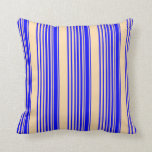 [ Thumbnail: Blue and Tan Colored Stripes Throw Pillow ]