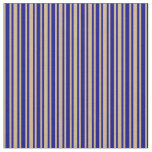 [ Thumbnail: Blue and Tan Lines/Stripes Pattern Fabric ]
