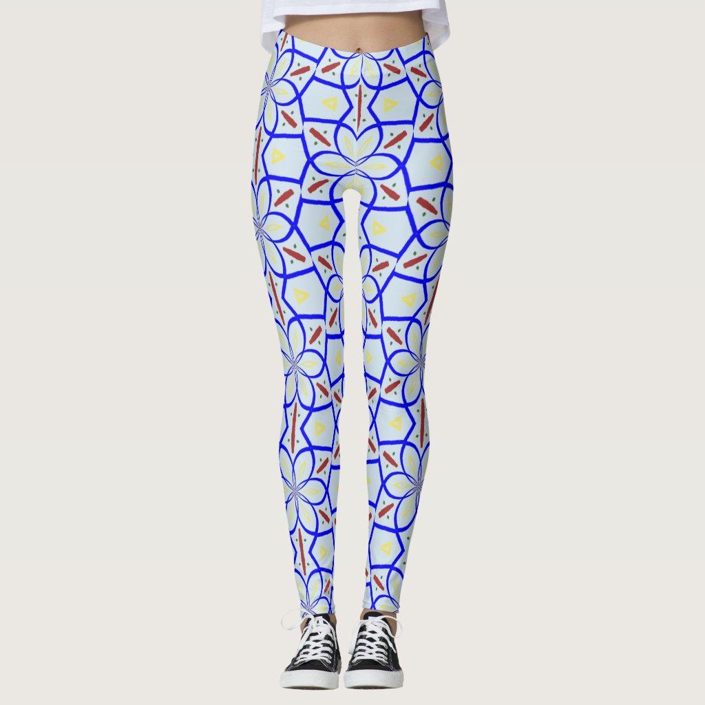 Blue and Tan Pattern Leggings