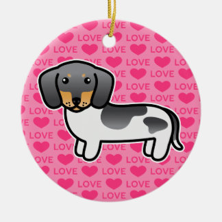 Blue And Tan Piebald Smooth Coat Dachshund Dog Ceramic Ornament