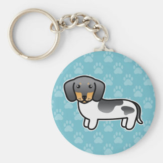 Blue And Tan Piebald Smooth Coat Dachshund Dog Keychain