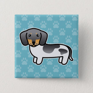 Blue And Tan Piebald Smooth Coat Dachshund Dog Pinback Button