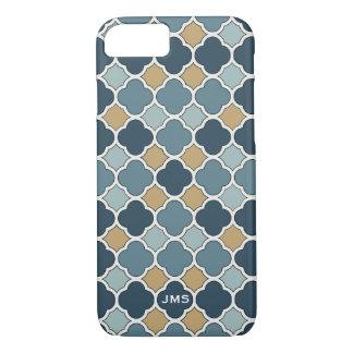 Blue and Tan Quatrefoil Triple Monogram iPhone 7 iPhone 8/7 Case