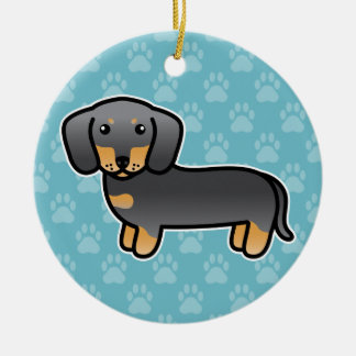Blue And Tan Smooth Coat Dachshund Cartoon Dog Ceramic Ornament