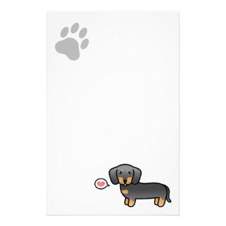 Blue And Tan Smooth Coat Dachshund Love Stationery