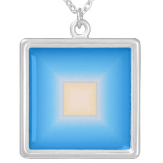 Blue And Tan Square Necklace