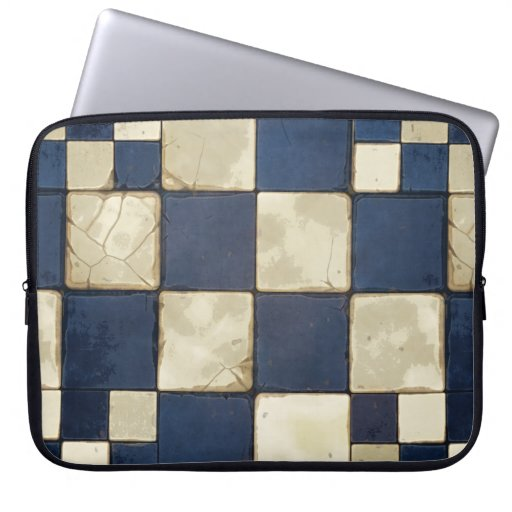Blue And Tan Tile Laptop Sleeve
