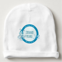 Blue and Teal Cute Watercolor Octopus Baby's Name Baby Beanie