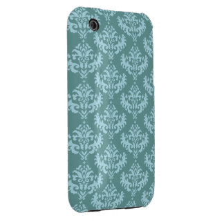 Blue and Teal Feminine Damask Pattern iPhone 3 Covers