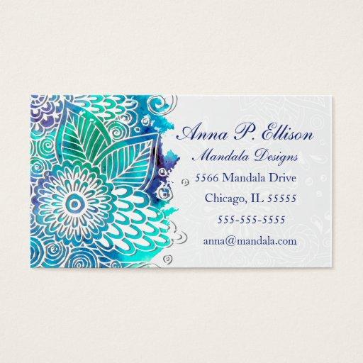 Blue and Teal Floral Mandala Design Business Card