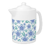 Blue and Teal Flowers Teapot