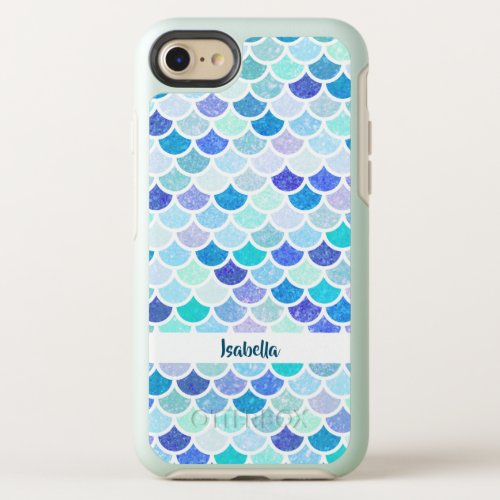 Blue and Teal Mermaid Scales Pattern Phone Case