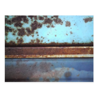 Blue and teal rusty truck close-up post card
