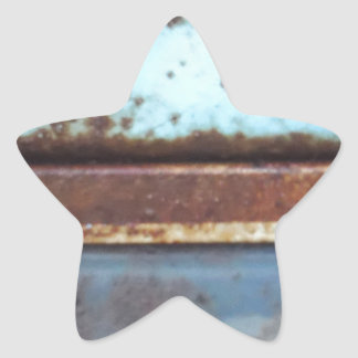 Blue and teal rusty truck close-up star sticker