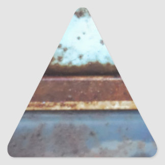 Blue and teal rusty truck close-up triangle sticker