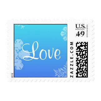 Blue and Teal Snowflake Posh Postage Stamp
