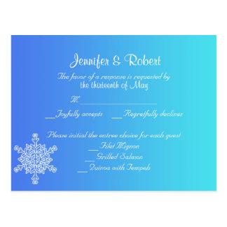 Blue and teal Snowflake Posh RSVP Postcard
