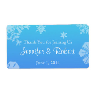 Blue and Teal Snowflake Posh Water Bottle Label Shipping Label