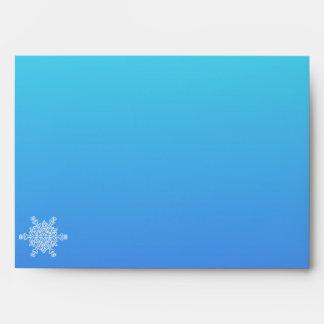 Blue and Teal Snowflake Posh Wedding Envelope