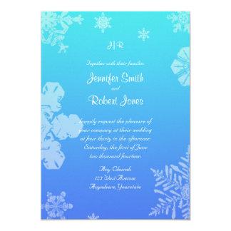 Blue and Teal Snowflake Posh Wedding Invitation
