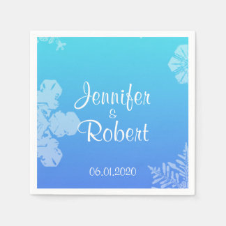 Blue and Teal Snowflake Posh Wedding Napkins Paper Napkins