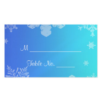 Blue and Teal Snowflake Posh Wedding Place Cards Double-Sided Standard Business Cards (Pack Of 100)