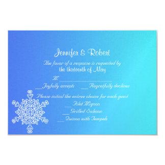 Blue and Teal Snowflake Posh Wedding Response Card