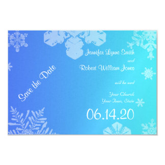 Blue and Teal Snowflake Posh Wedding Save the Date 3.5x5 Paper Invitation Card