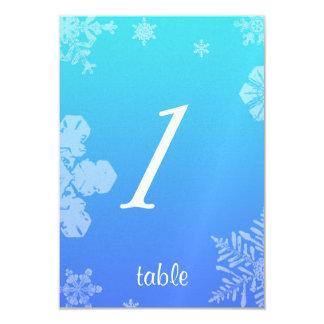 Blue and Teal Snowflake Posh Wedding Table card