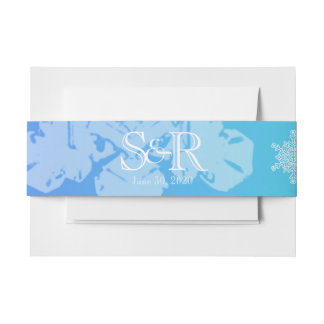 Blue and Teal Snowflake Wedding Belly Band Invitation Belly Band