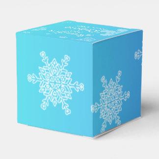 Blue and Teal Snowflake Wedding Favor Box
