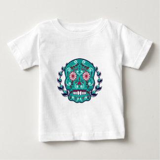 Blue and Teal Sugar Skull Laurel Leaf Baby T-Shirt