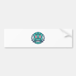 Blue and Teal Sugar Skull Laurel Leaf Bumper Sticker