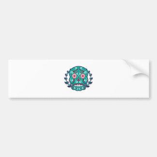 Blue and Teal Sugar Skull Laurel Leaf Bumper Sticker