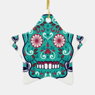 Blue and Teal Sugar Skull Laurel Leaf Ceramic Ornament