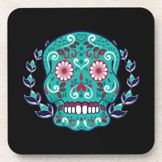 Blue and Teal Sugar Skull Laurel Leaf Coaster