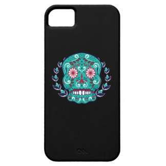 Blue and Teal Sugar Skull Laurel Leaf iPhone SE/5/5s Case