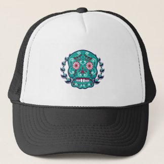 Blue and Teal Sugar Skull Laurel Leaf Trucker Hat