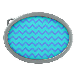 Blue and Teal Zigzag Pattern. Oval Belt Buckles