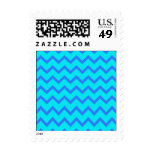 Blue and Teal Zigzag Pattern. Postage Stamps