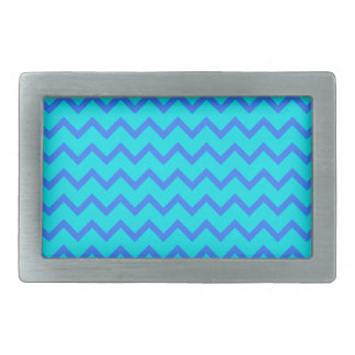 Blue and Teal Zigzag Pattern. Rectangular Belt Buckle