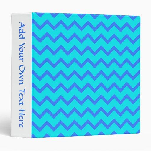 Blue and Teal Zigzag Pattern. Vinyl Binder