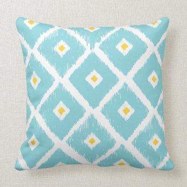 McTiffany Tiffany Aqua Blue and Tellow Tribal Ikat Diamond Pattern Pillow