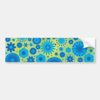 Blue and Turquoise Hippy Flower Pattern Bumper Sticker