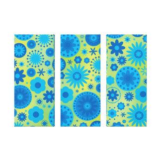Blue and Turquoise Hippy Flower Pattern Canvas Print