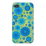 Blue and Turquoise Hippy Flower Pattern iPhone 4/4S Cover