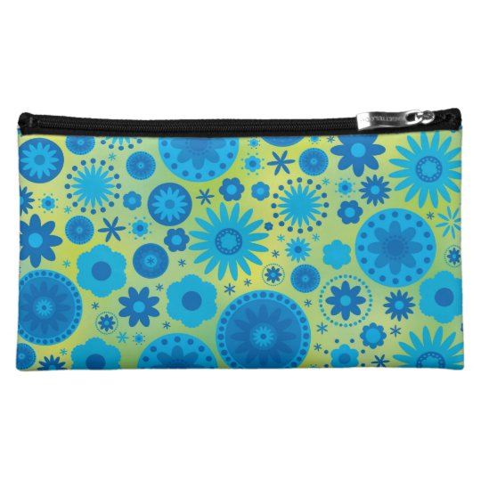 Blue and Turquoise Hippy Flower Pattern Makeup Bag